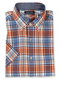 Nautica Big & Tall Plaid Short Sleeve Woven Shirt