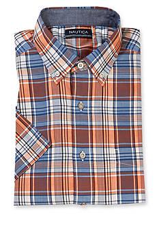 Nautica Big & Tall Plaid Short Sleeve Woven Shirt