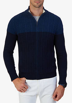Nautica Zip-Front Cable Knit Cardigan Sweater