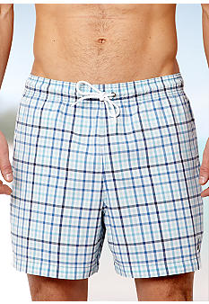 Nautica Mini Plaid Swim Trunks