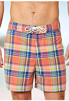 Nautica Madras Half Back Elastic Trunks