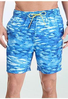Nautica fish print swim trunks belk everyday free shipping for Fishing swim trunks