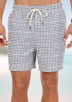 Nautica Quick Dry Geo Block Print Swim Trunks