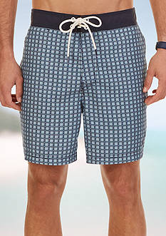 Nautica Quick Dry Block Print Swim Trunks