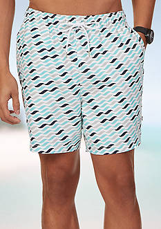 Nautica Quick Dry Geo Wave Print Swim Trunks