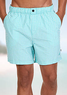 Nautica Quick Dry Gingham Swim Trunks