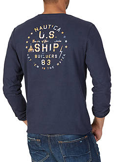 Nautica Ship Builders Graphic Long Sleeve Tee