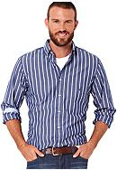 Nautica Poplin Mini Stripe Sport Shirt