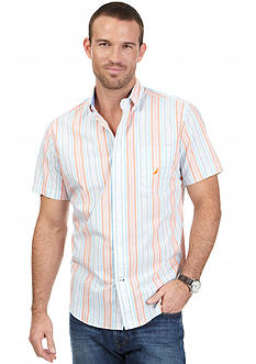 Nautica Short Sleeve Light Striped Woven Shirt