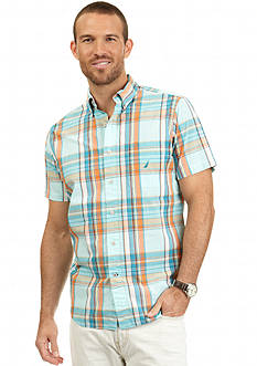 Nautica Short Sleeve Trim Fit Poplin Plaid Shirt