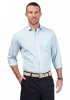 Nautica Long Sleeve Trim Fit Wrinkle Resistant Mini Stripe Shirt