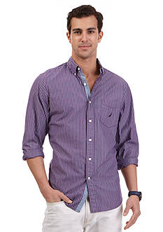 Nautica Long Sleeve Stripe Poplin Shirt