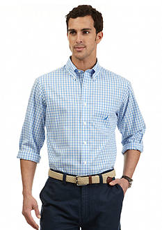 Nautica Long Sleeve Trim Fit Wrinkle Resistant Plaid Shirt