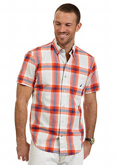 Nautica Short Sleeve Orange Madras Shirt