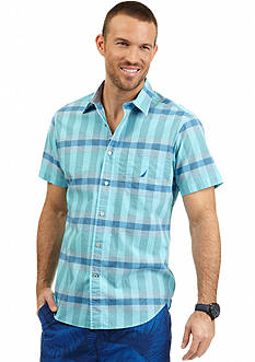Nautica Short Sleeve Poplin Tonal Plaid Shirt