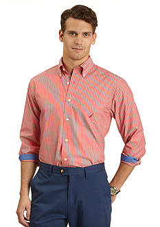 Nautica Long Sleeve Wrinkle Resistant Red Striped Shirt
