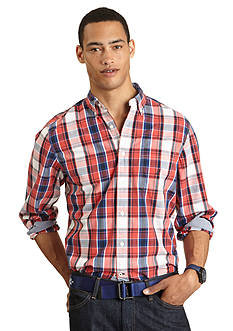 Nautica Long Sleeve Red Plaid Shirt
