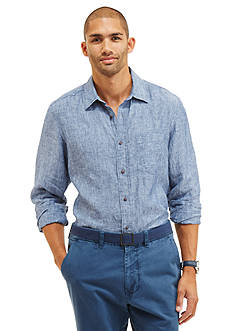 Nautica Long Sleeve Linen Button Down Shirt