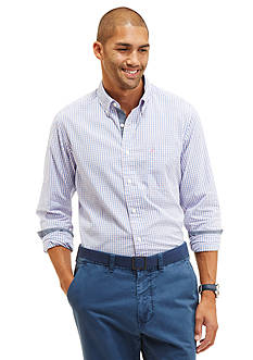 Nautica Long Sleeve Poplin Gingham Button Down Shirt