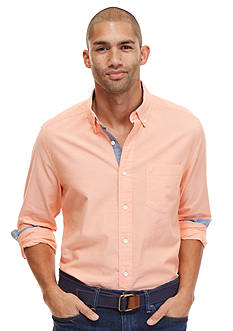Nautica Long Sleeve Solid Oxford Button-Down Shirt