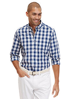 Nautica Long Sleeve Slub Large Plaid Poplin Shirt