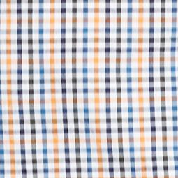 Lacoste™ men: Orange/Officer Navy Lacoste Plaid Woven Long Sleeve Poplin Shirt