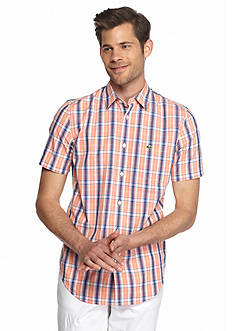 Lacoste Short Sleeve Poplin Check Woven Shirt