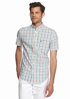 Lacoste Short Sleeve Poplin Check Regular Fit Button Down Shirt