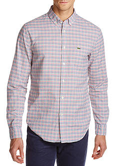 Lacoste Long Sleeve Oxford Multi-Color Check Button Down Shirt