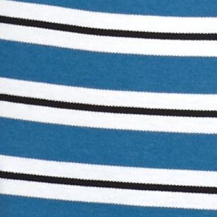 Men: Lacoste Designer: Officer/White/Black Lacoste Short Sleeve Stripe Pique Polo Shirt