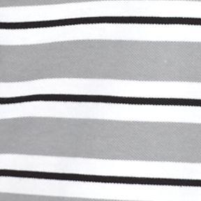 Men: Lacoste Designer: Platinum/White/Black Lacoste Short Sleeve Stripe Pique Polo Shirt