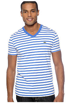 Lacoste Stripe V-Neck Tee