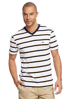Lacoste Short Sleeve Multi Stripe V-Neck T-Shirt