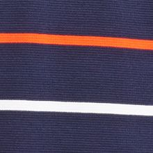 Mens Designer Polo Shirts: Navy Blue/ Etna Red Lacoste Super Light Stripe Sport Cotton Polo