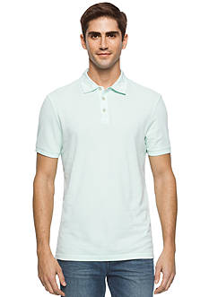 Calvin Klein Jeans Washed Mixed Media Pique Polo Shirt