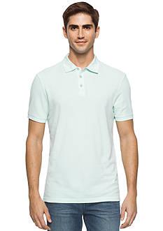 Calvin Klein Jeans Washed Mixed Media Pique Polo Shirt