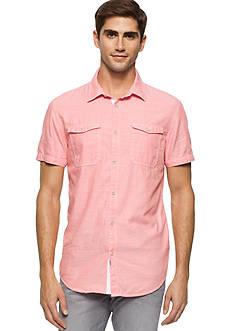 Calvin Klein Jeans Short Sleeve Slub Herringbone Utility Woven Shirt