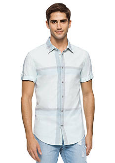 Calvin Klein Jeans Short Sleeve Chalky Print Plaid Woven Shirt