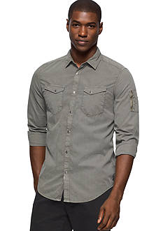 Calvin Klein Jeans Long Sleeve Garment Dyed Aviator Shirt