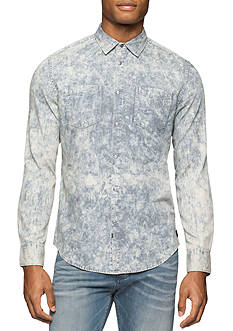 Calvin Klein Jeans Long Sleeve Bleach Stripe Woven Shirt