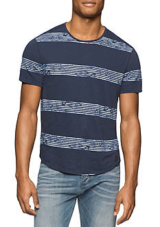 Calvin Klein Jeans Short Sleeve Whirl Stripe Shirt Tail Crew Neck Tee