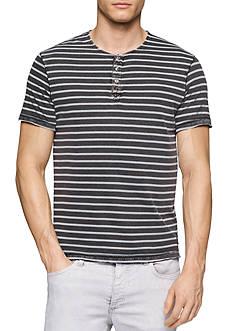 Calvin Klein Jeans Short Sleeve Wash Stripe Henley Shirt