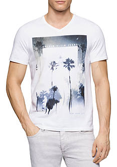 Calvin Klein Jeans V-Neck Tee Palm Trees Graphic Tee