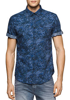 Calvin Klein Jeans Short Sleeve Splatter Print Woven Shirt
