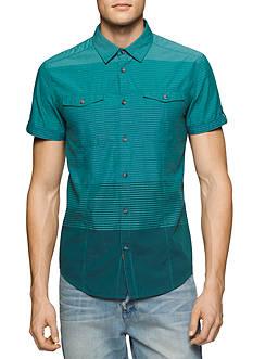 Calvin Klein Jeans Short Sleeve Horizontal Stripe Woven Shirt