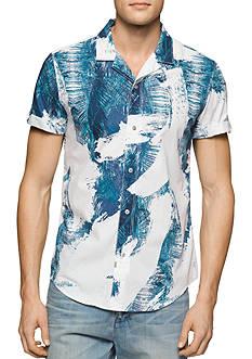 Calvin Klein Jeans Short Sleeve Palm Print Woven Shirt