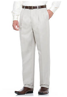 Savane Deep Dye Microfiber Gab Pleated Dress Pants