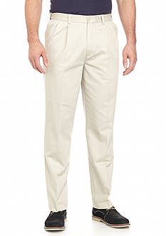 Savane Straight-Fit Performance Chino Comfort Waist Pleated Wrinkle-Free Pants