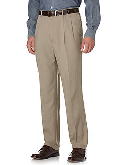 Savane Select Edition Crosshatch Microfiber Wrinkle Resistant Comfort Waist Pants