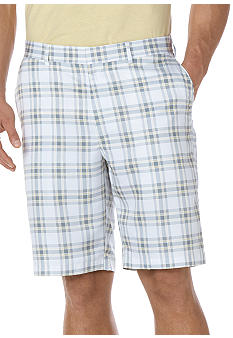 Savane White Grid Micro Print Shorts